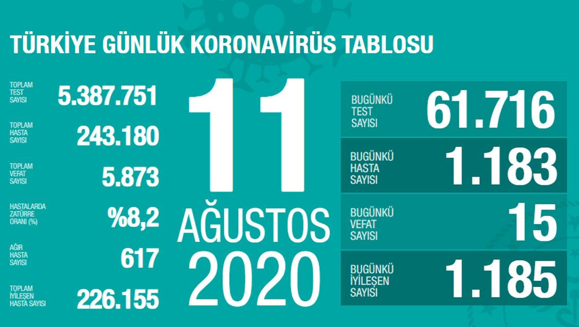 Sağlık Bakanlığı Türkiye'de Tespit Edilen Koronavirüs Olgu Sayısının 243.180'e Yükseldiğini Açıkladı