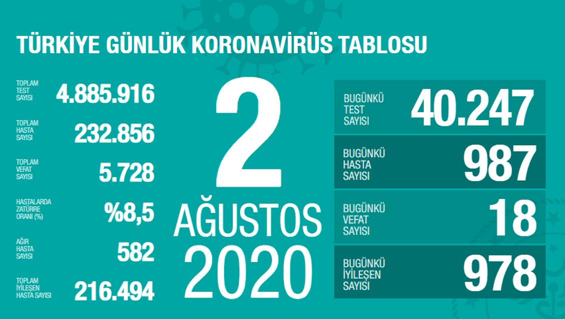 Sağlık Bakanlığı Türkiye'de Tespit Edilen Koronavirüs Olgu Sayısının 232.856'ya Yükseldiğini Açıkladı