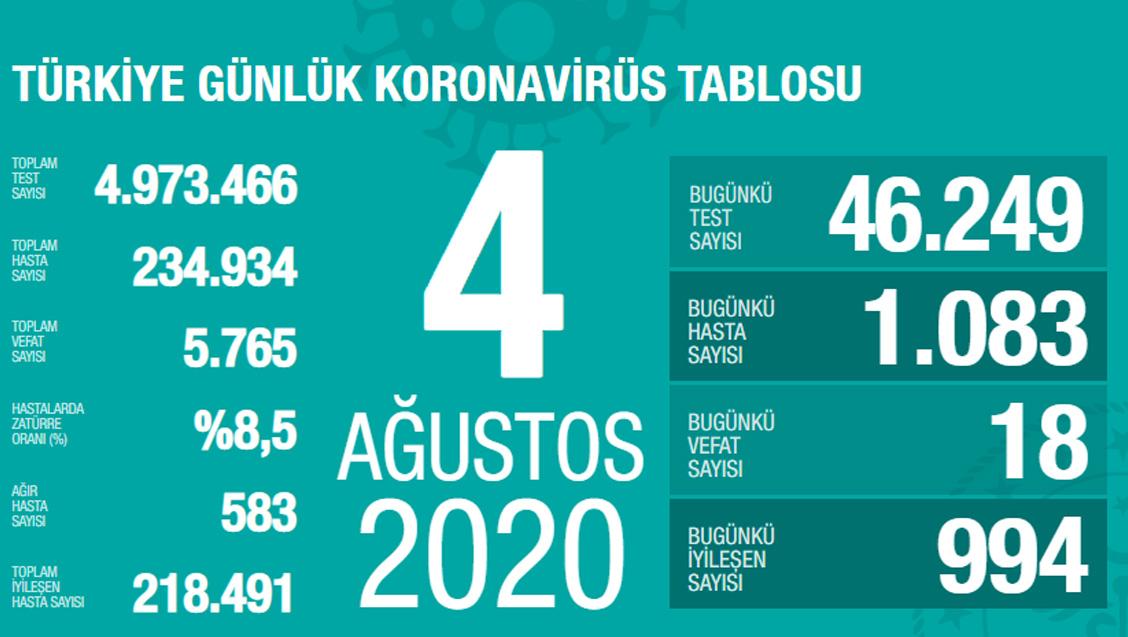 Sağlık Bakanlığı Türkiye'de Tespit Edilen Koronavirüs Olgu Sayısının 234.934'e Yükseldiğini Açıkladı