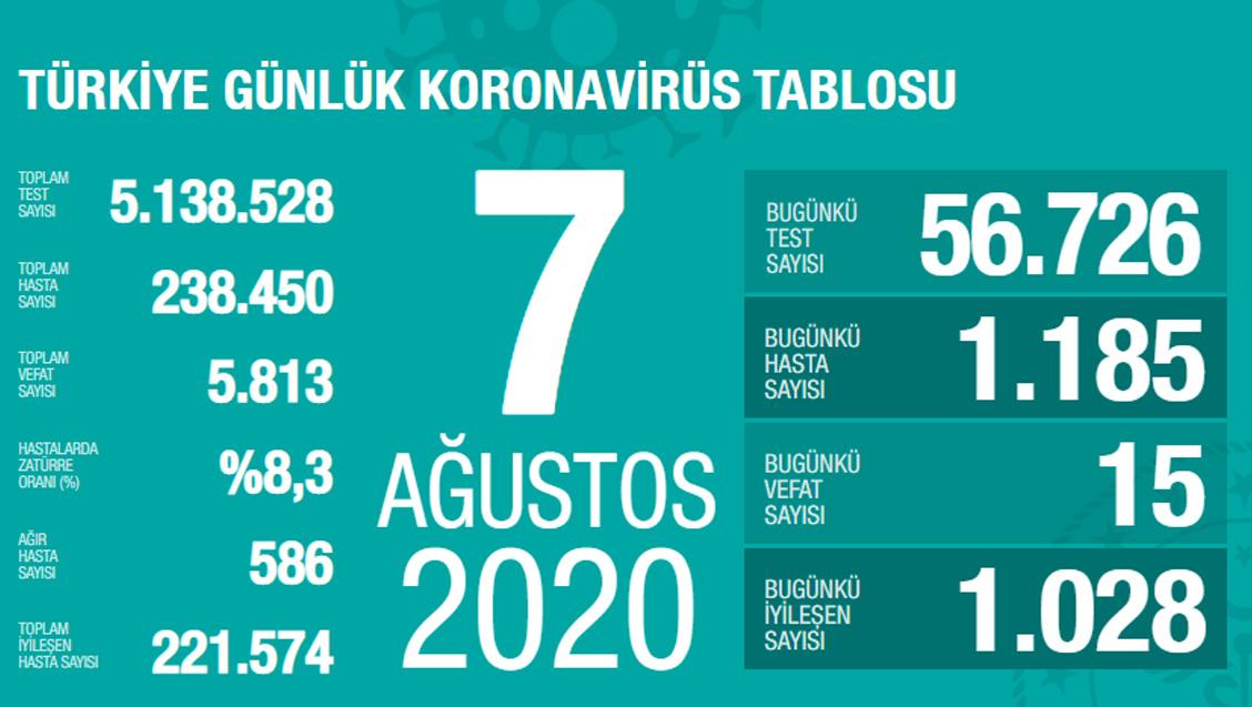 Sağlık Bakanlığı Türkiye'de Tespit Edilen Koronavirüs Olgu Sayısının 238.450'ye Yükseldiğini Açıkladı