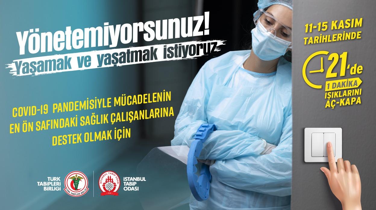 Türk Tabipleri Birliği'nin Çağrısıyla Tüm Ülkede Eylemdeyiz: COVID-19 Tüm Sağlık Çalışanları İçin Meslek Hastalığı Kabul Edilmelidir!