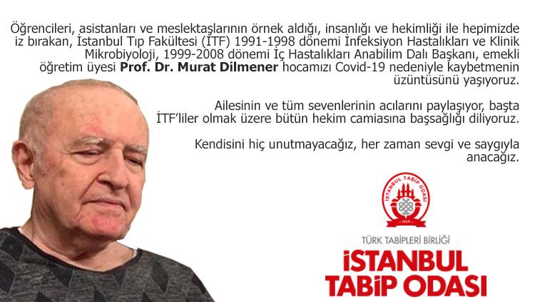 Prof. Dr. Murat Dilmener'i Kaybetmenin Üzüntüsü İçindeyiz