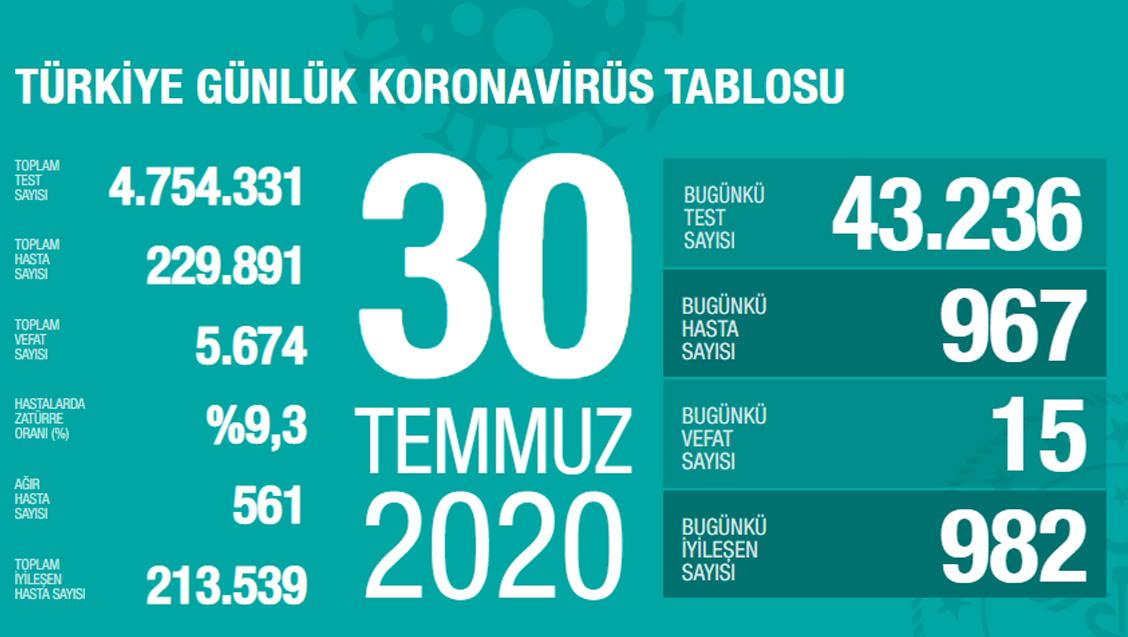 Sağlık Bakanlığı Türkiye'de Tespit Edilen Koronavirüs Olgu Sayısının 229.891'e Yükseldiğini Açıkladı
