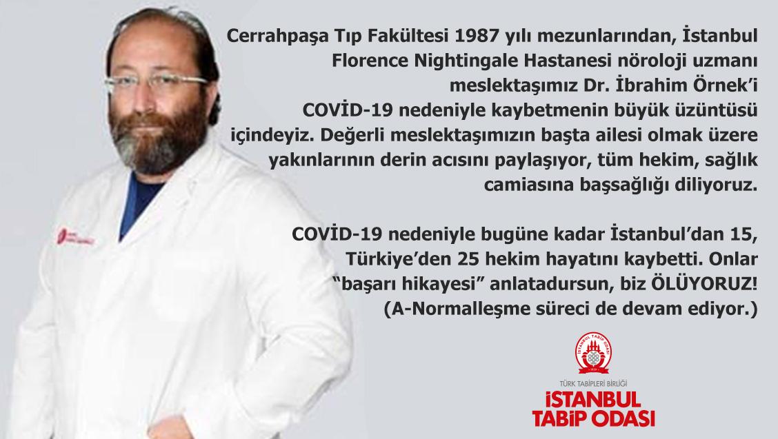 Dr. İbrahim Örnek COVID-19 nedeniyle yaşamını yitirdi. Çok üzgünüz!
