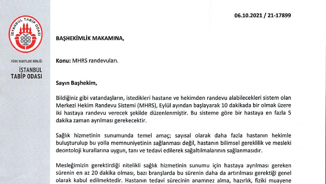 Kamu Hastanelerinin Başhekimlerine MHRS Randevu Süreleri Hakkında Yazı Gönderildi