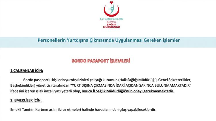 Hekimlerin Yurt Dışı Çıkışına Dair İstanbul Sağlık Müdürlüğü'nün Duyurusu